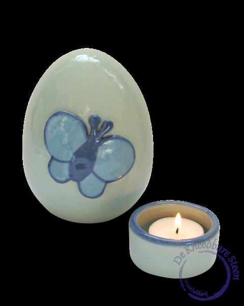 Baby urn met vlinder blauw*