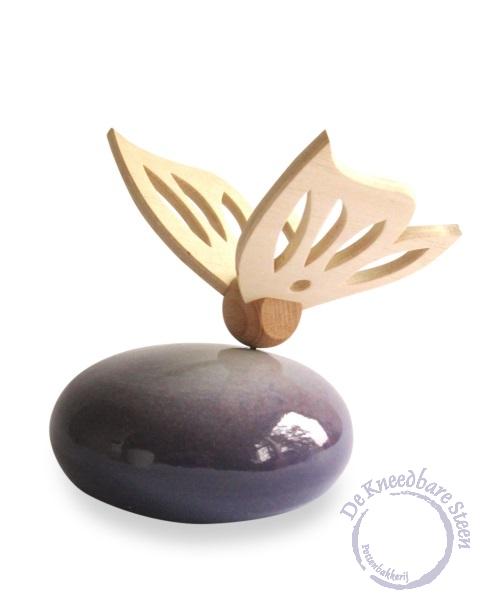 Mini urn met vlinder* paars
