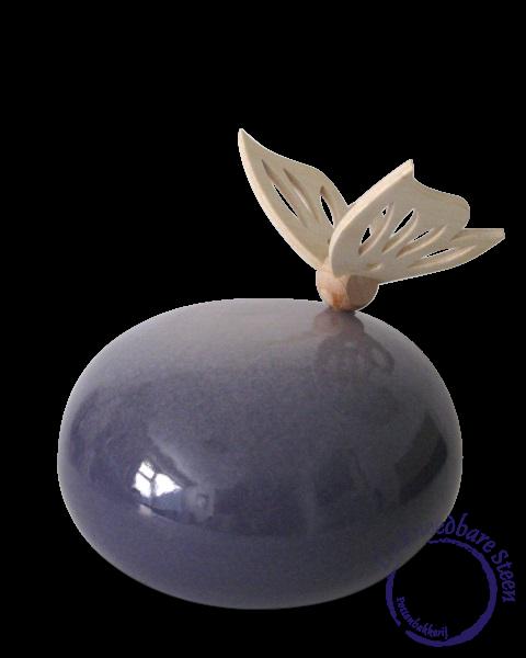 Urn met houten vlinder* (paars)