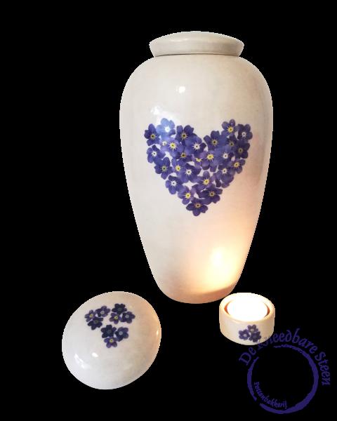 Urn met vergeetmijnietjes (excl. lichtje en mini urntje…)
