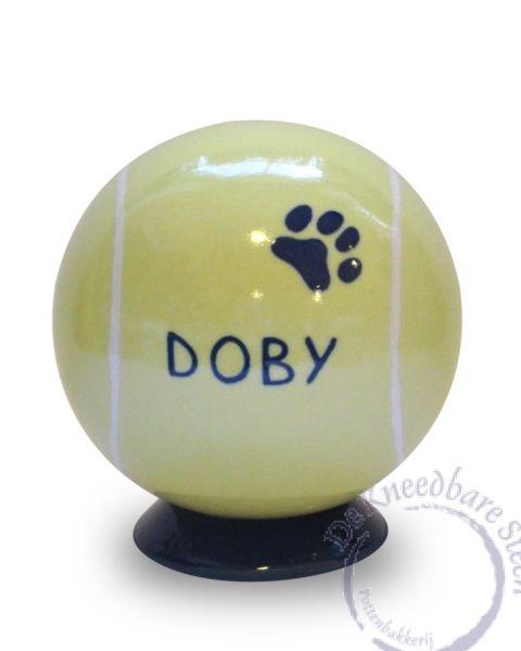 Hondenurn tennisbal met naam